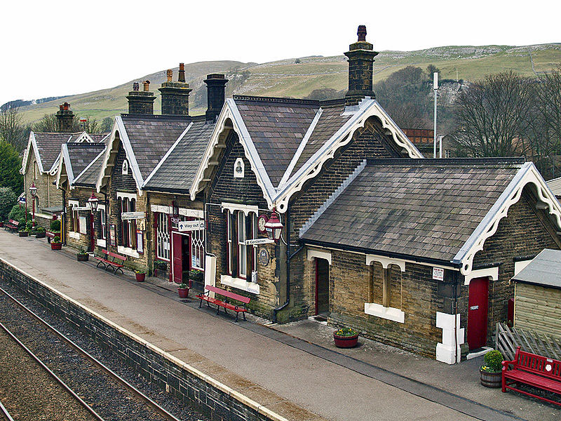 The railway station at settle can be found in the center of this small